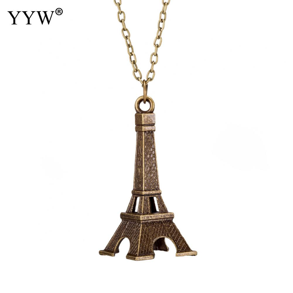 Jewerly Iron Tower Pendant Necklace Antique Bronze Color Necklace For Women