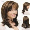 Синтетические слоистых парики коричневый белый подчеркивает прямой челкой средней длины естественный парики дамы волокна волос парики для женщин