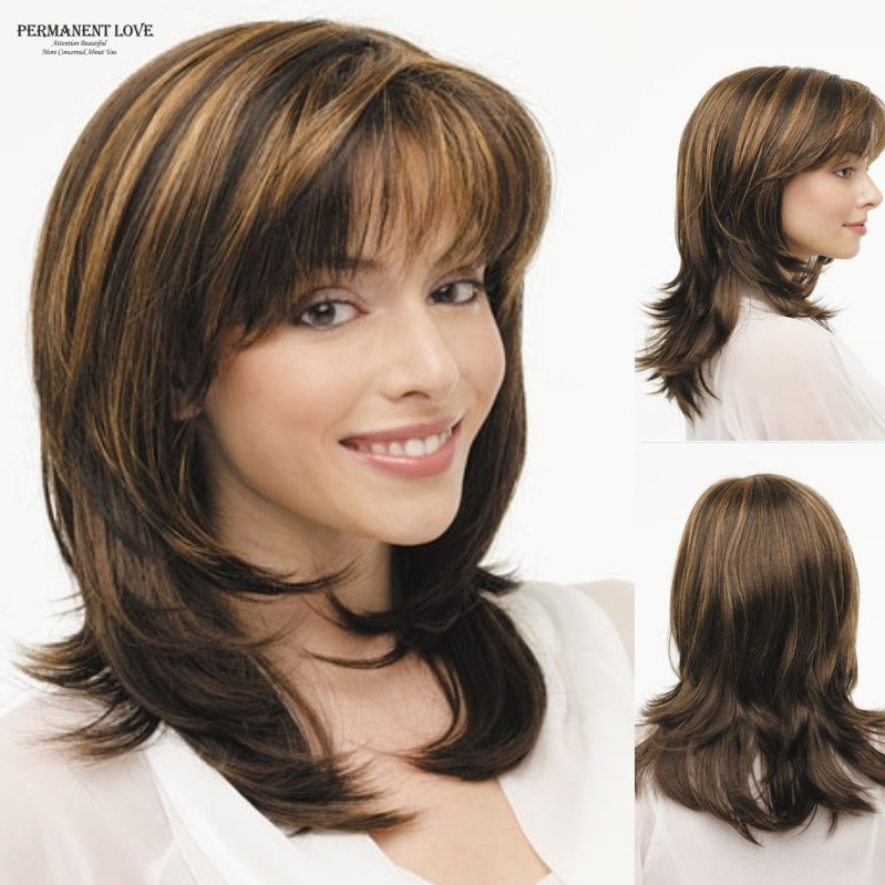 Synthetic layered wigs Brown blonde highlights straight bangs medium ...