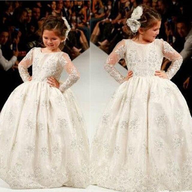 Cheap Custom Make Little Girls Party Dresses Crew Neckline Lace Ball Gown Floor length Sheer Ivory Little Flower Girls Dresses 2016