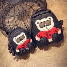 Женщин Мишка Черный Красный Fashion рюкзаки искусственная кожа сумка рюкзак мужские туфли из искусственной кожи для девочек сумки Mochila Рюкзак Back Пакет