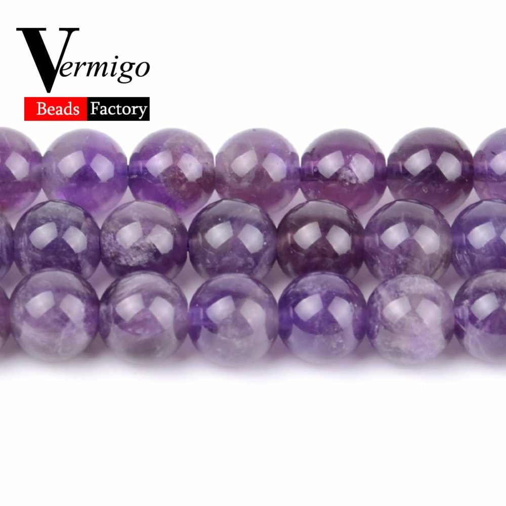 High Quality Purple Amethysts Crystals Beads Natural Stone Round Loose Beads For Needlework Jewelry Making Diy Bracelet Necklace