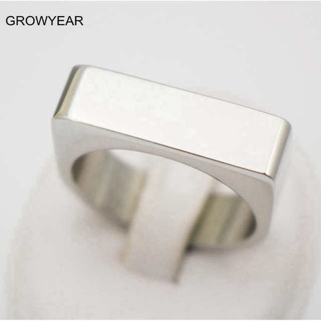 Personalized Rings Blank Stainless Steel Mens Signet Rings Silver