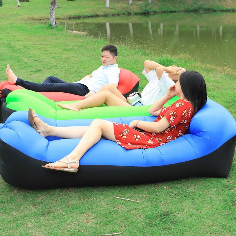 Saco de Dormir de Cama preguiçoso Sofá De Ar Inflável Rápido Ar Salão Dormir de Banana Praia sofá Cama de Ar Laybag Coloca uma Cama para acampamento ao ar livre