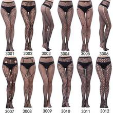 Female Sexy Lingerie Stripe Women Elastic Stockings Transparent Black Fishnet Stocking Thigh Sheer Tights Embroidery Romper openwork elastic sheer tights