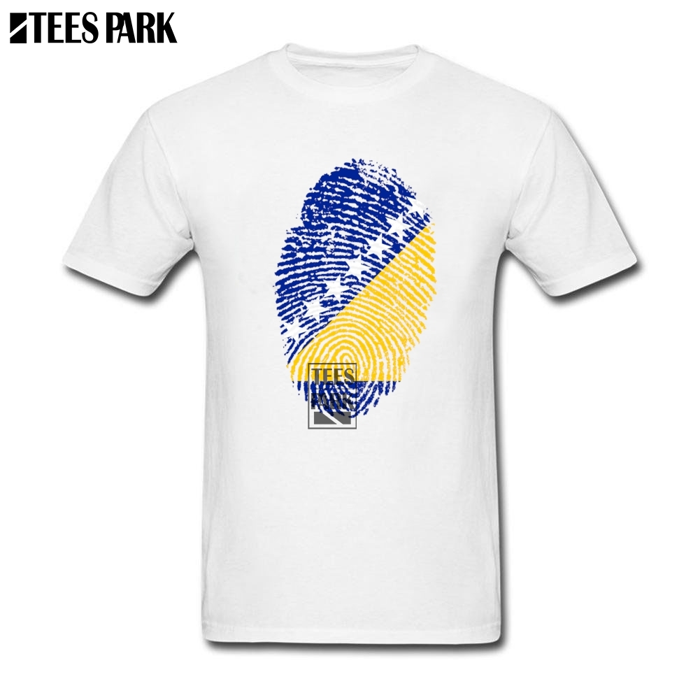 Funky T Shirt Bosnia And H Flag Fingerprint Mens Designer T Shirts