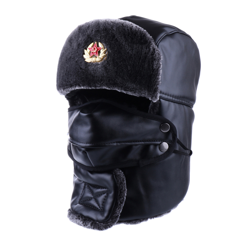 Bomber Hat Russian Ushanka PU Leather Winter Trapper Soviet Badge Army Aviator Trooper Neck Cover Earflap Snow Ski Cap With Mask