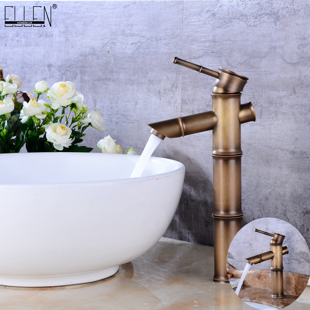 где купить Antique Brass Waterfall Bathroom Sink Faucet Vessel Tall Bamboo Water Tap Mixer Hot and Cold Single Hole Basin Faucet Vintage дешево