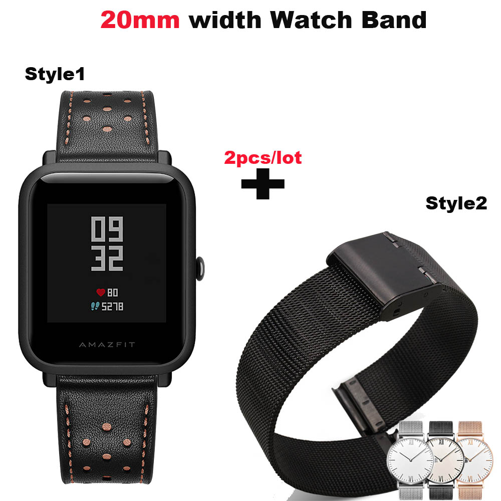 20mm Bracelet Strap For Xiaomi Amazfit Bip Watchstrap Amazfit GTS Leather Watchband Amazfit GTR 42mm Stainless Metal WristBand