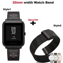 Купить с кэшбэком Leather Bracelet Strap 20mm Smart Watch Metal Pulsera Correa Band for Huami Amazfit Bip Lite for Huawei Watch 2 for Samsung Gear