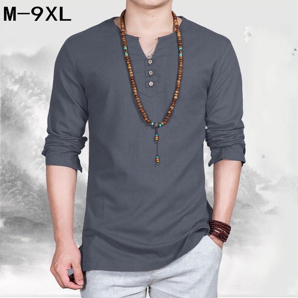 Lin hommes grande v-cou T-shirt pour hommes de style Chinois gros grande taille décontracté à manches longues T-shirt de grande taille 7XL 8XL 9xl buste 162 cm