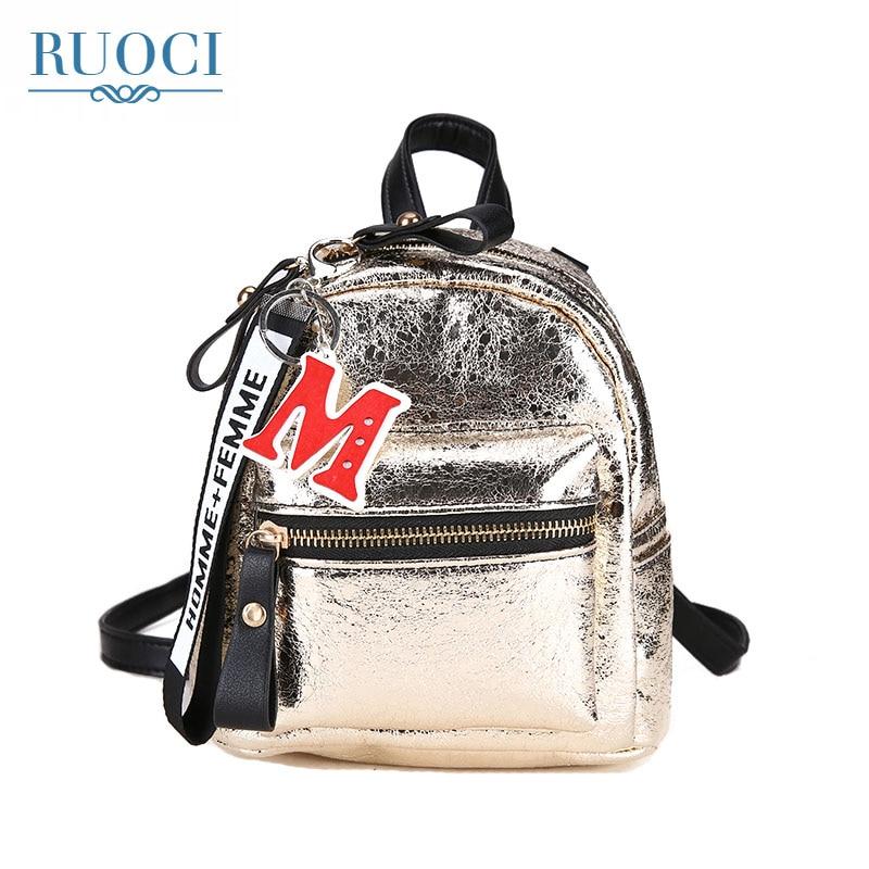 RUOCI 2018 Women Leather Backpack Children Backpack Mini Backpack Women Cute Back Pack Backpacks for Teenage Girls Small Bag