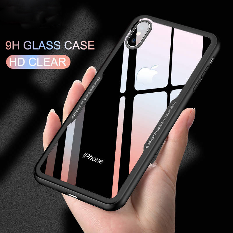 9H Tempered Glass Clear Transparent Back Cover Case for iPhone X XR XS Max Case 360 Shockproof for iPhone 8 7 6 Plus Phone Case