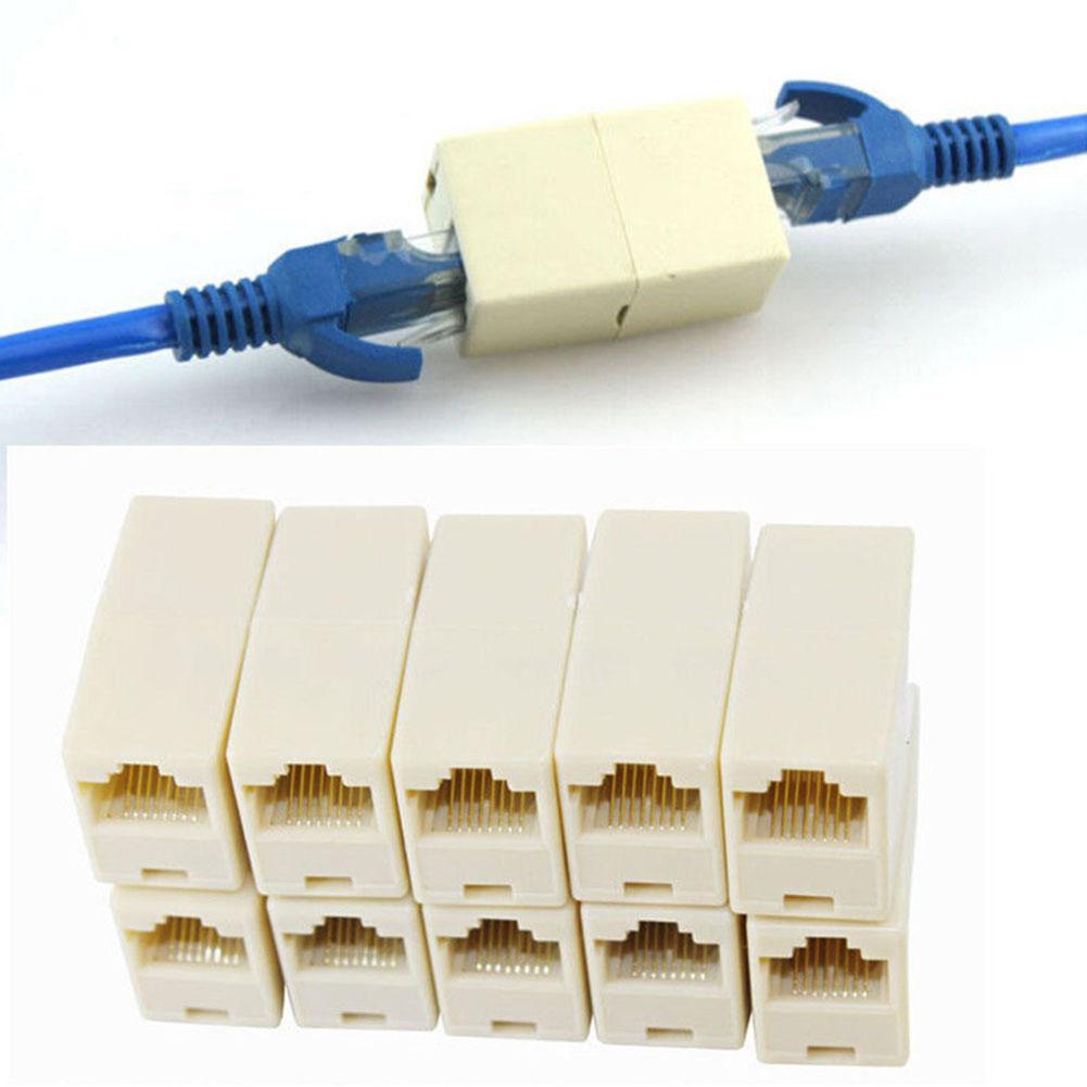 5Pcs LAN Ethernet Network RJ45 Splitter Plug Adapter Cable Extension Connector Ethernet Network RJ45 Splitter Plug