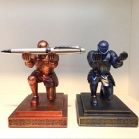 Executive Medieval Bowing Knight Pen Holder Stand Gift Desktop Decoration Armor Soldier Figurine Statue Paperweight YOUR MAJESTY