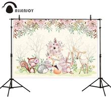 Allenjoy photography background fox animals wigwam pastel flowers Spring backdrops for photo studio decorative photo props allenjoy photography background fantastic forest park stairs newborn princess spring fabric backdrops