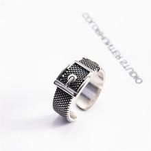 HEYLUOKE punk negro bague argent 925 massif cinturón vintage anillos ajustables para mujeres damas ancho enorme anillo de dedo grande KJZ0380