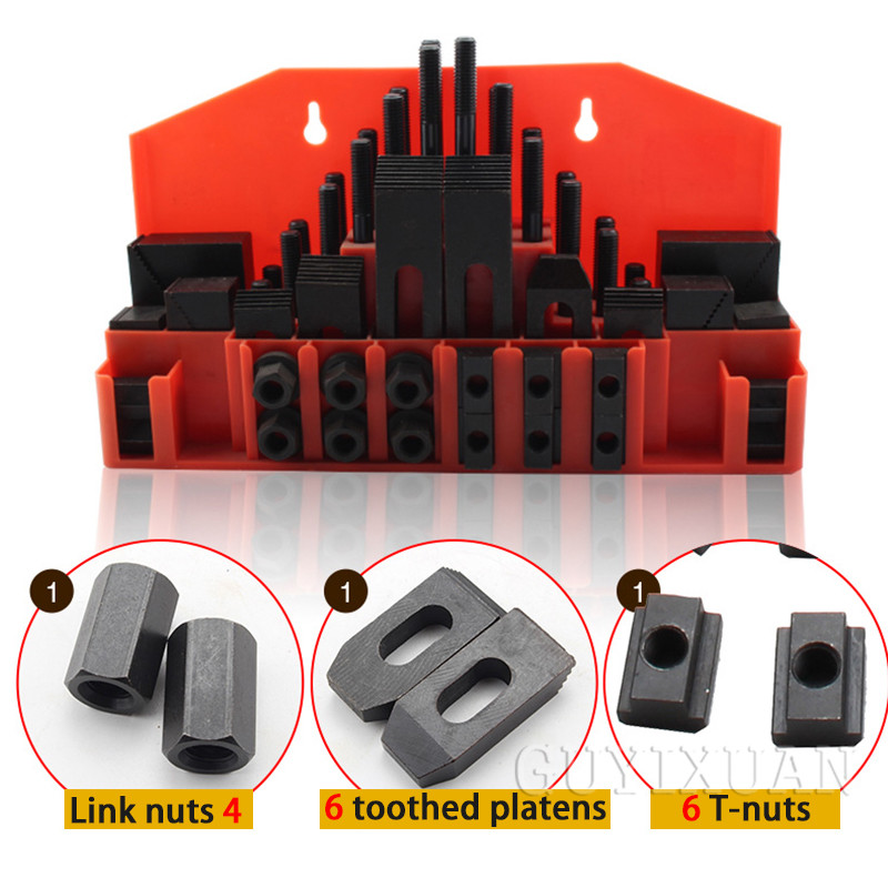 58-piece Tool Set Press Plate Screw Clamp Connection Nut Milling Machine CNC Machine Tool Processing Accessories