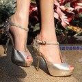 Club nocturno Atractivo Más Popular Del Abrigo Del Tobillo Tachonado Elegante Mujer Solos Zapatos de Las Mujeres Peep Toe de Plataforma de Tacón Alto de La Personalidad