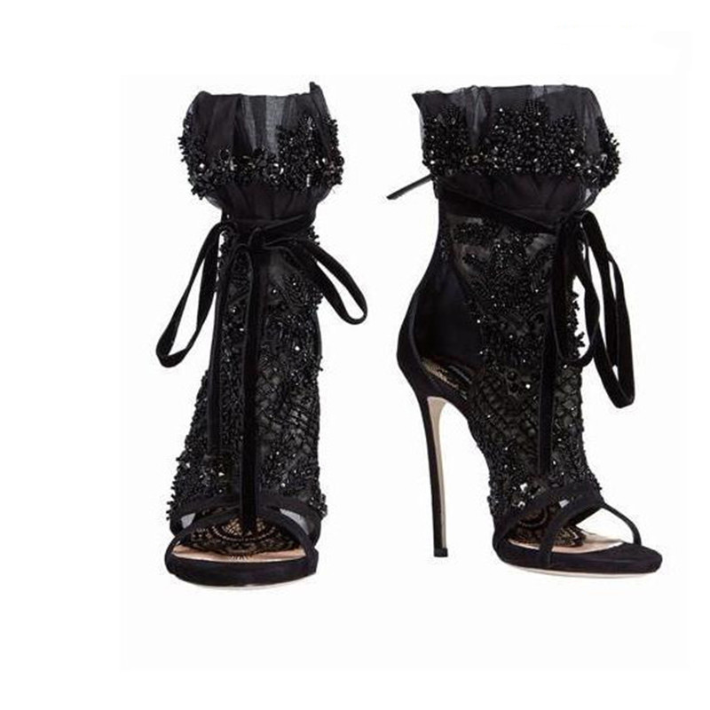 EMMA KING Lace Crystal Studded Summer Sandals Boots Women Cross-tied Open Toe Booties Sexy Black Evening Party Dress Ankle BootsEMMA KING Lace Crystal Studded Summer Sandals Boots Women Cross-tied Open Toe Booties Sexy Black Evening Party Dress Ankle Boots