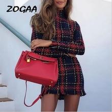 Womens Red Tartan Print Long Sleeve Swing Skater Dress Plus Size 6-14 UK недорого