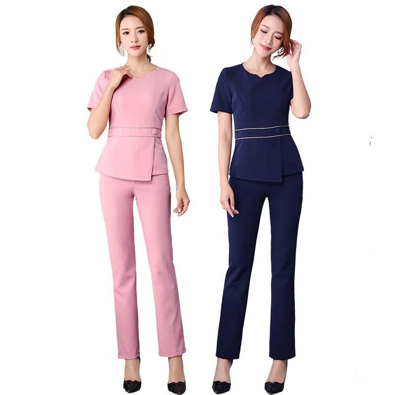 [SET] New Style Fashion Women's Nursing Uniform Scrubs Doctor Costume Women  Nurse Medical Uniform