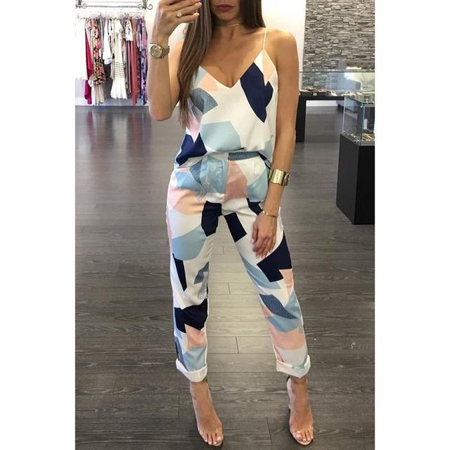 Summer Women Sets Spaghetti Strap Cold Shoulder Work Suit Patchwork Printed Sexy V-Neck Two Piece Sets WS275X