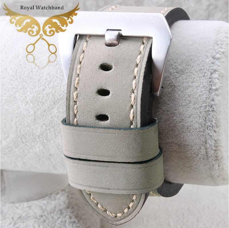 Handmade New 24mm Grey Genuine Leather Strap Watch Band Silver Brushed Buckle Clasps For P A