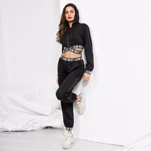 3ea907a05456 Women Two Piece Black Tracksuit Set Letter Print High Waist Top and Track  Pants Sportwear Crop Hoodies & Trousers Sweat Suits