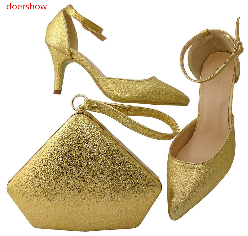 doershow New Arrival GOLD Shoe and Bag To Match Italian African Wedding Shoe and Bag Sets Matching Shoes and Bag Set !LULU1-10 doershow italian shoe with matching bag for party african shoe and bag set new design ladies shoe and bag to match set pme1 14