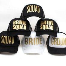 Boné feminino esquadrão de noiva, chapéus de malha de despedida de solteira, preparo para casamento, caminhoneiros, branco neon, boné de beisebol