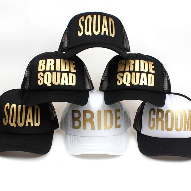 40cbc590aa192 BRIDE SQUAD GROOM Golden Print Bachelorette Mesh Hats Women Wedding  Preparewear Trucker Caps White Neon Baseball Cap Snapback