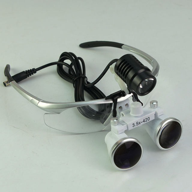Campo largo 3.5X Dental Lupa Iluminante DIODO EMISSOR de Luz Dos Olhos Óculos  Lupa Cirurgia 848b1fa5db