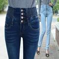 2016 calças de Brim Das Mulheres de Cintura Alta Calças Lápis Magros Esticar Calças Compridas Femininas Four-Breasted Calça Casual Calças Tamanho Grande 40 SL0679