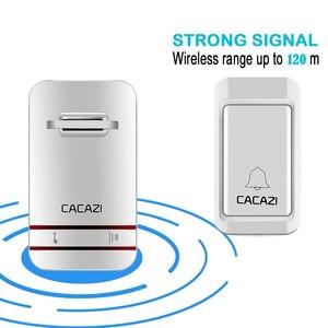 Image 4 - CACAZI sonnette sans fil auto alimentée lumière LED, étanche, sans batterie, sonnette pour maison, prise US ue UK, 38 anneaux, 1 bouton, 1 2 3 récepteurs