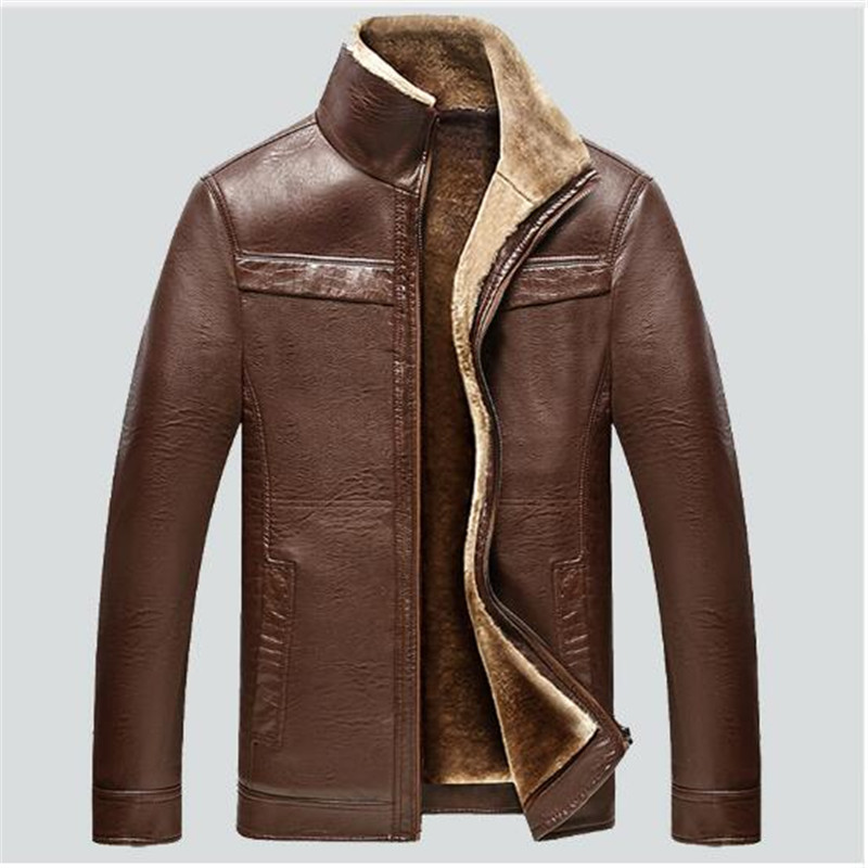 Новинка 2017 плюс Размеры теплый толстый кожаный жакет высокого качества Для мужчин Зимние военные плюс бархат пальто Для мужчин пальто мужч...