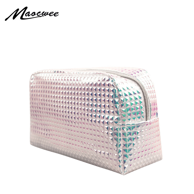 Women Harajuku Holographic Cosmetic Bags Organizer Makeup Bag Female Travel Toiletry Bag Large Capacity Storage Beauty Bag