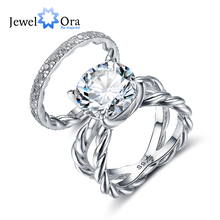 Luxury Wedding Accessorise 12mm 6.5 CT Hearts And Arrows Round Cubic Zirconia 925 Sterling Silver Ring Sets (JewelOra RI102340)