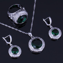 Excellent Round Green Cubic Zirconia White CZ 925 Sterling Silver Jewelry Sets For Women Earrings Pendant Chain Ring V0988