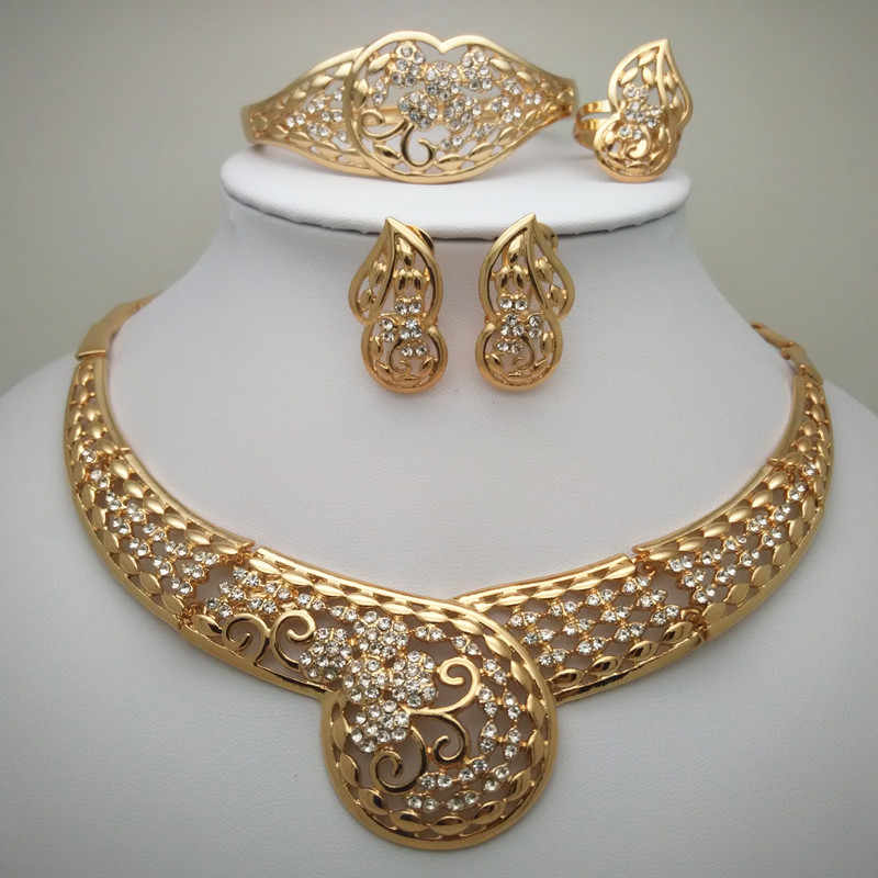 Bridal Gift Nigerian Wedding African Beads Jewelry Set  Nigerian Wedding Dubai Gold Jewelry Sets African Big Jewelry Set