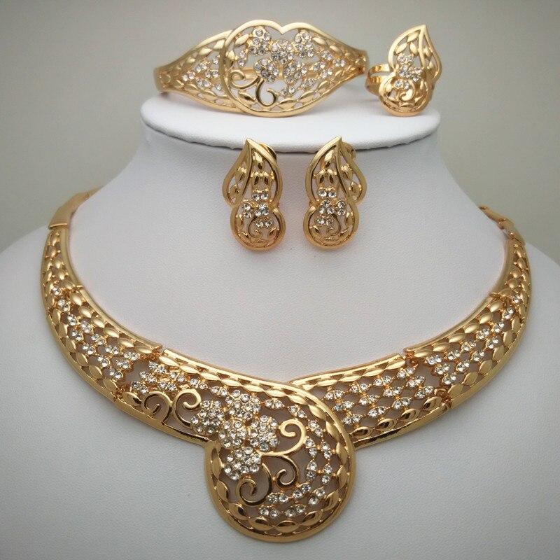 Bridal Gift Nigerian Wedding African Beads Jewelry Set  Dubai Gold Sets Big