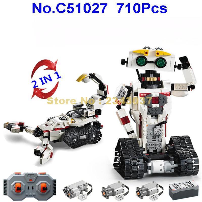 C51027 710pcs 2in1 technic รีโมทคอนโทรล rc transformation deformation หุ่นยนต์ usb building block ของเล่น-ใน บล็อก จาก ของเล่นและงานอดิเรก บน   1