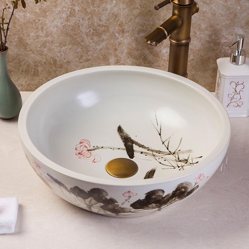 China Artistic Handmade Ceramic Wash Basin Round Counter