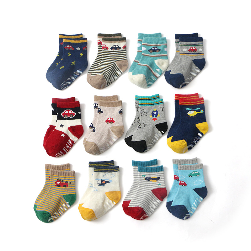 Klug 12 Paare/los 2019 Neue Cartoonbaby Socken Kinder Socken Non-skid Socken 1-3-jahr-alte Socken