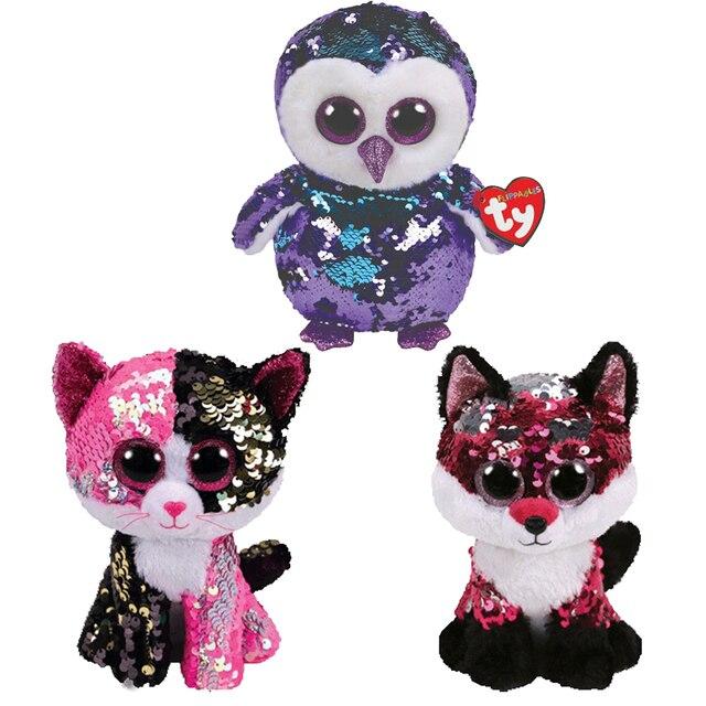 Ty Vaias Gorro Sequin Unicórnio Animal Brinquedos de Pelúcia Boneca Do Gato Coruja Fox Coelho Melhor Presente de Natal 15 centímetros