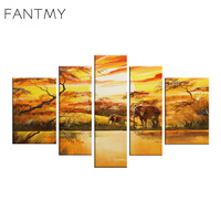 FANTMY Orange Realist style Abstract art Landscape hand painted canvas oil paintings Unframed Paintings for living room wall