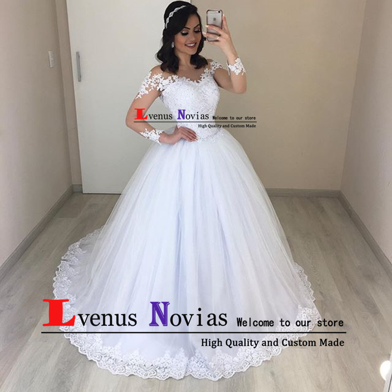 Robe Mariage Cheap Long Sleeve Wedding Gown White Lace Bride Dresses See Through Back Boho Wedding