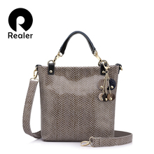 REALER brand genuine leather handbag female casual leather tote top-handle bag small shoulder bag for ladies messenger bags
