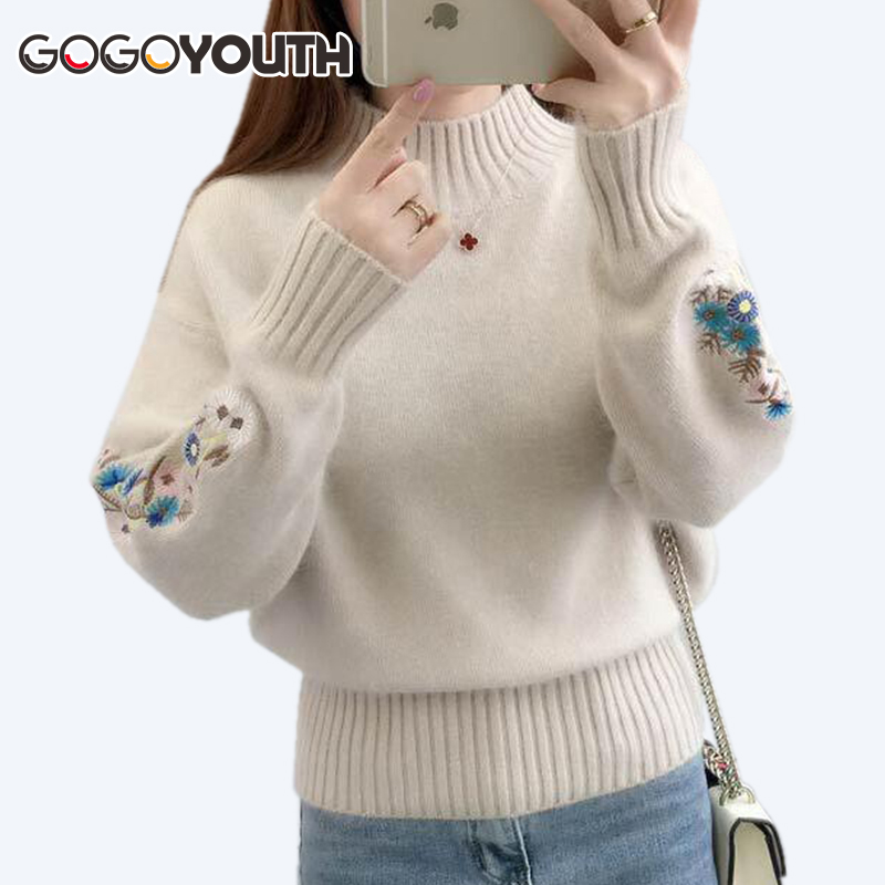 Gogoyouth Cashmere Women Turtleneck 2019 Autumn Winter Knitted Embroidery Jumper Women Sweaters And Pullovers Female Pull Femme