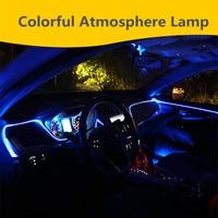 6M Active EL Neon Wire Strip Light RGB LED Decorative Dashboard Door Atmosphere Car Interior Light Bluetooth APP/Remote Control